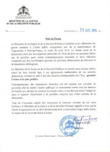 Note de Presse, Manifestation Violente, 29 Avril 2014