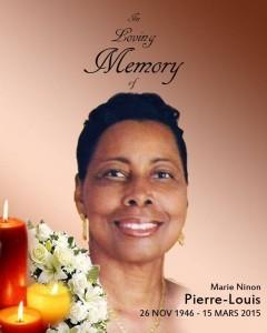 A la mémoire de Mme Marie Ninon Pierre-Louis