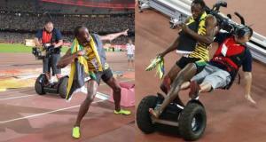 Usain Bolt renversé par un caméraman en Segway après sa victoire sur 200m (Video)