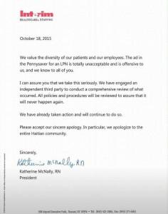 La société Interim Healthcare Inc s'excuse à la communauté haïtienne